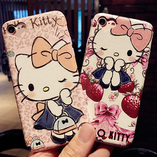 Cartoon Cute Hello Kitty Soft PU Leather for iPhone 7 7plus Phone Case  Silk pattern For iphone 6 6s plus Back Cover Case Funda