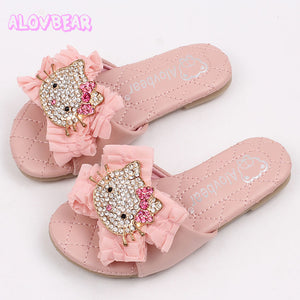 Crystal Hello Kitty Women Slippers NEW Summer Pearl