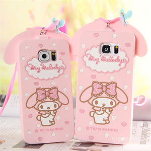 Samsung Galaxy S6 S6 Edge S7 S7 Edge Note 3/4/5 Cover Cute 3D Hello Kitty My Melody Bow
