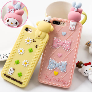 For iPhone 7 7 Plus full case 3D hello kitty / Melody phone Cases For iphone 6 6s 6 plus Bear Soft back cover case girl pink