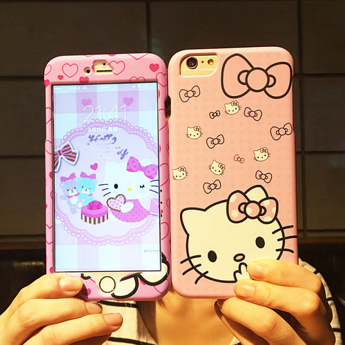 For iphone 7/ 7plus Hello kitty Cute Front+Back case ,360 full range Matte skin Cover case for iphone 6 6S Cartoon phone cases