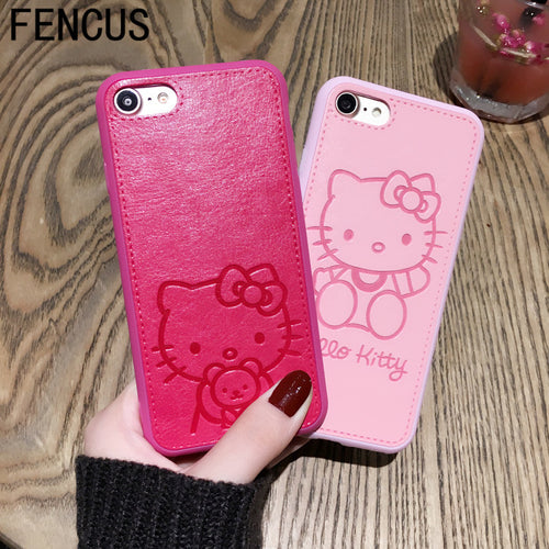 High Quality Pu Leather cute Hello kitty Case for iphone 7 7plus 6 6s 6plus Lovers TPU Silicone Phone Case Back Cover Capa