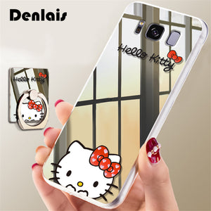 Luxury Mirror Cute Hello Kitty Cartoon Case For Samsung Galaxy S8 Cases Ultra Thin Clear