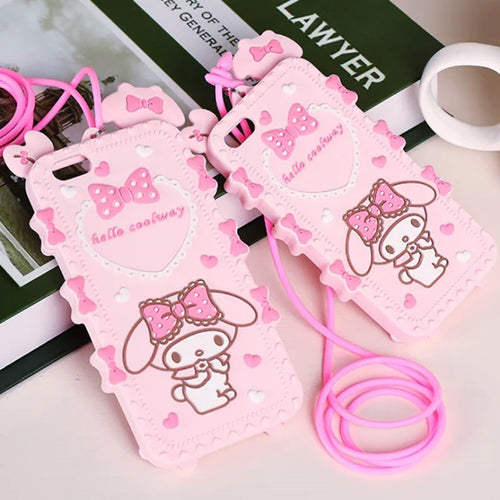 3D Cartoon Hello kitty My Melody Bow Pink Soft Silicone Phone Cases For iPhone X 8 7 7Plus 5 5S SE 6 6S 6Plus