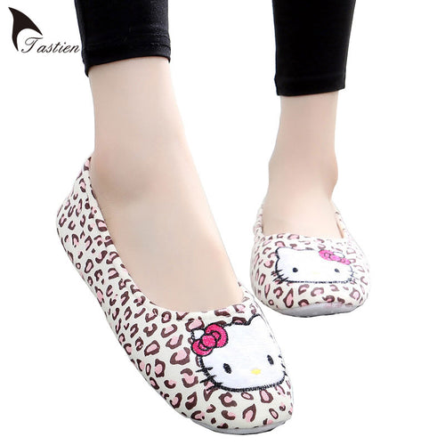 Leopard Hello Kitty Slippers Spring Fall Home Shoes Lady Indoor