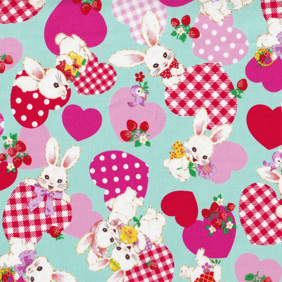 Bunny and hearts (mint)