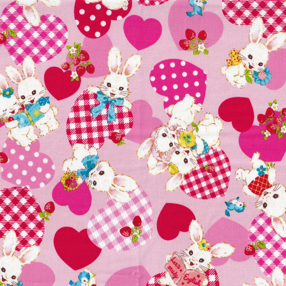 Bunny and hearts (pink)