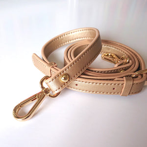 Leather Cross-body Bad Strap -- Pale Gold (adjustable)