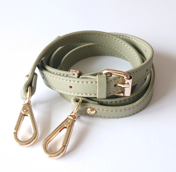 Leather Cross-body Bad Strap -- Olive Green (adjustable)