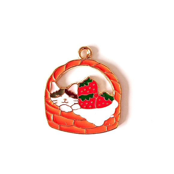 Zipper Charm -  Cat in Basket