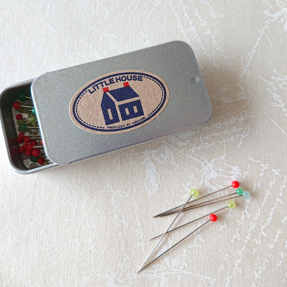 Little house Sewing Pins in the Tin