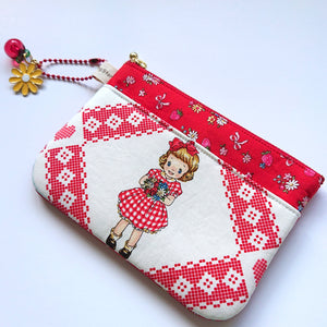 Little Miss Zip Pouch - White/Red