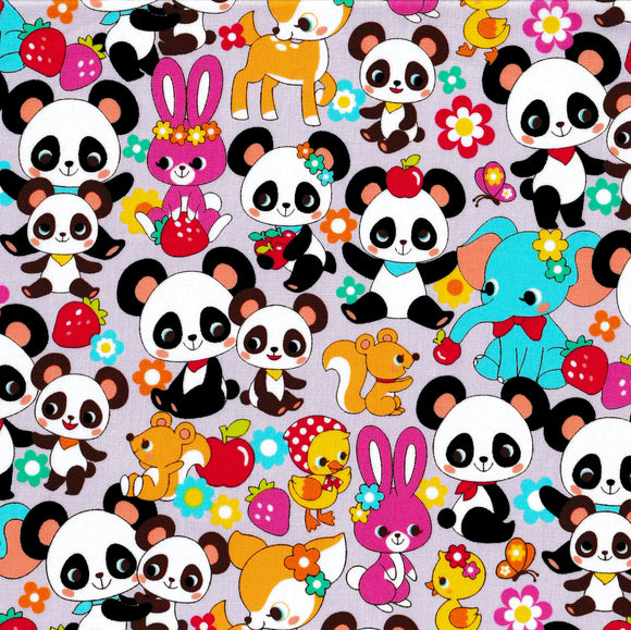 Panda and Friends (lilac) (1/2 meter)