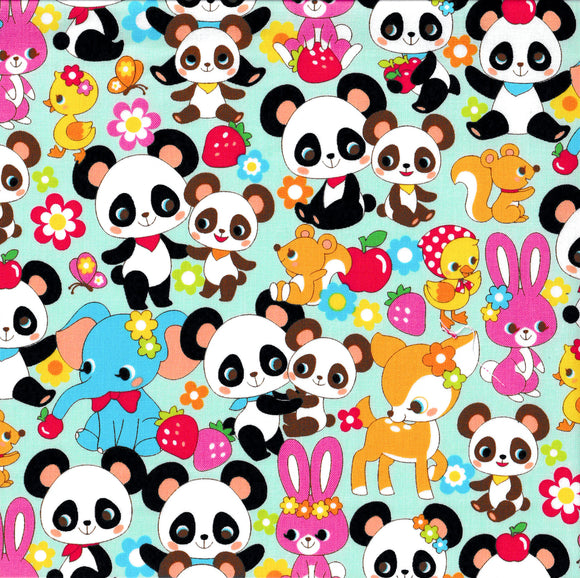 Panda and Friends (mint) (1/2meter)