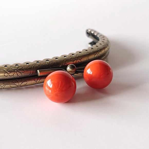 Metallic Purse Clasp Frame with Round Beads -- Coral