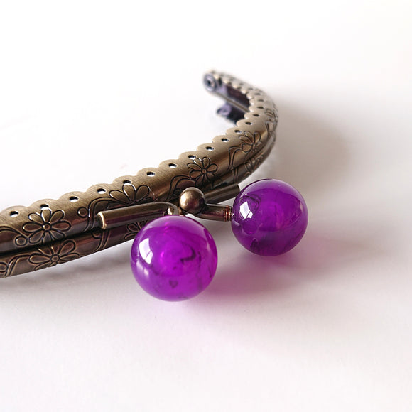 Metallic Purse Clasp Frame with Round Beads -- Purple