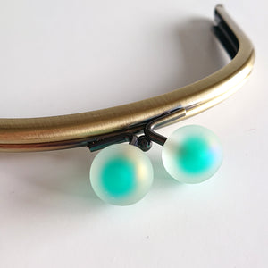 Metallic Purse Clasp Frame with Translucent Turquoise Bead