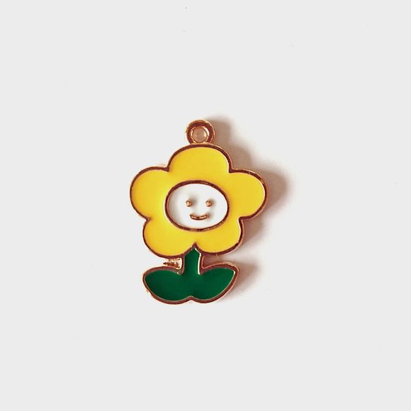 Zipper Charm - Smiling Flower (Yellow)