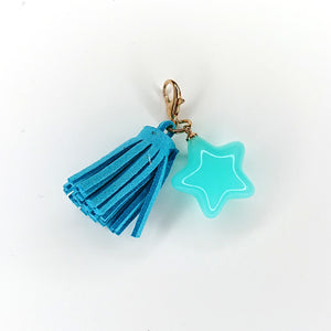 Zipper Charm -  Star and Tassel (Blue)