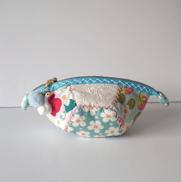 Strawberry and Cream Zipper Pouch (Blue)