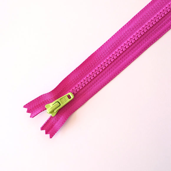 YKK TOY ZIPPER - PINK+LIME GREEN (20cm)