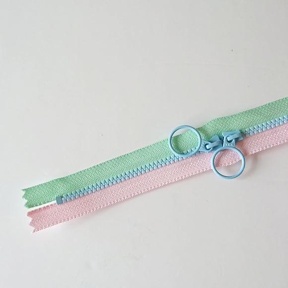 YKK Triple Zipper- Light Pink & Mint With Light Blue Zip  (50cm)