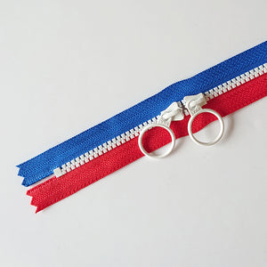 YKK Triple Zipper- Blue/Red/White (50cm)