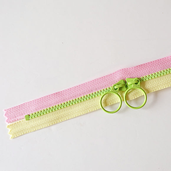YKK Triple Zipper- Lime/Yellow/Pink (50cm)
