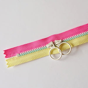 YKK Triple Zipper- Pink/Yellow With White/Mint Zip (50cm)