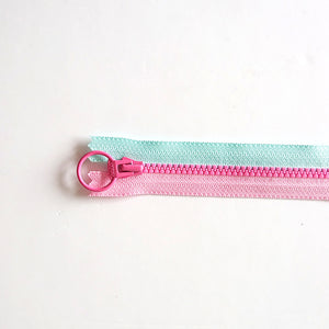 YKK Triple Zipper- Light Blue and Pink with Rosy Pink Zip (20cm)