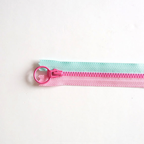 YKK Triple Zipper- Light Blue and Pink with Rosy Pink Zip (40cm)