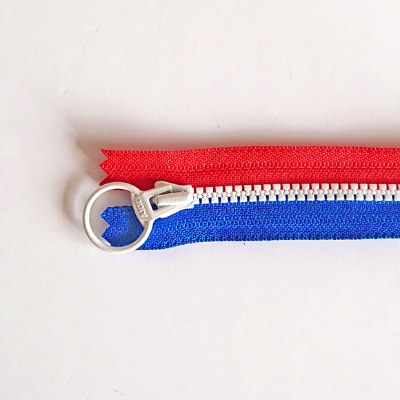YKK Triple Zipper- Blue/Red/White (30cm)