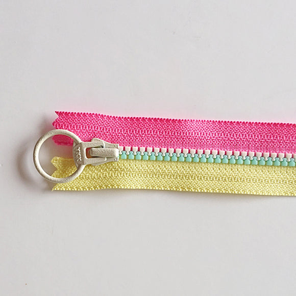 YKK Triple Zipper- Pink/Yellow With White/Mint Zip (30cm)