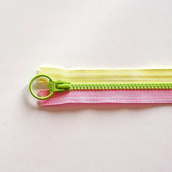 YKK Triple Zipper- Lime/Yellow/Pink (20cm)