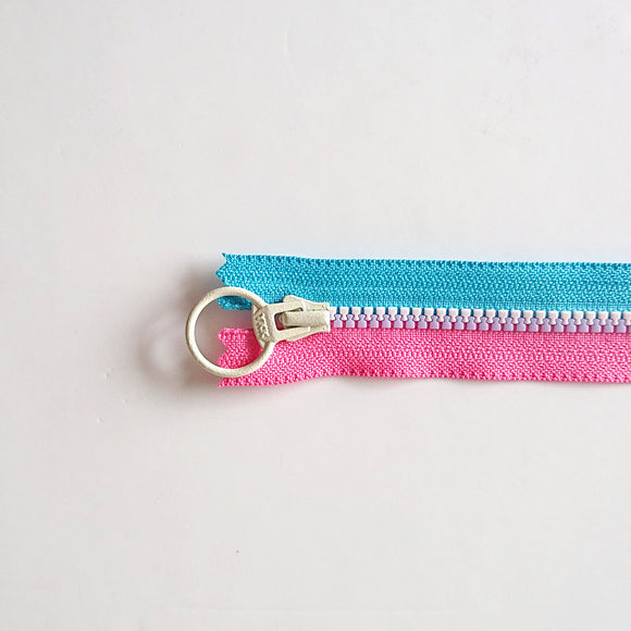 YKK Triple Zipper- Blue & Pink With White Zip (30cm)
