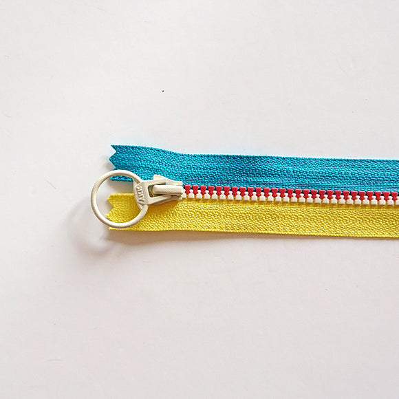 YKK Triple Zipper- Blue/Yellow/White (40cm)