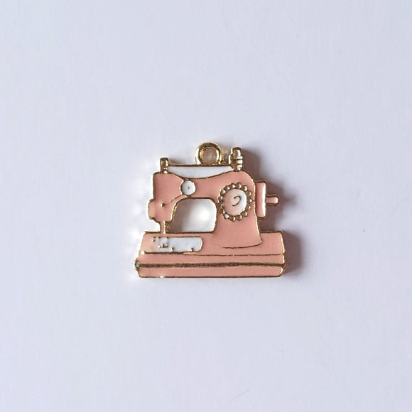 Zipper Charm - Vintage Sewing Machine (Pink)