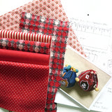 Vintage Lady Draw String Bag Sewing Kit by Yubi (Yasuko Yubisui) (Red)