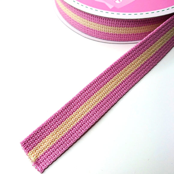 WEBBING -- Stripy (pink/cream)