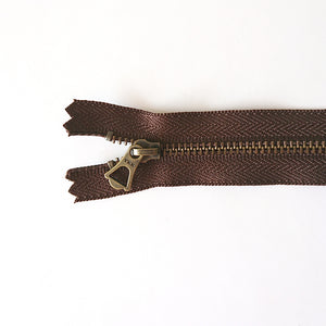 YKK Bronze Zipper with Tulip Pull - Dark Brown (15cm/6inches)