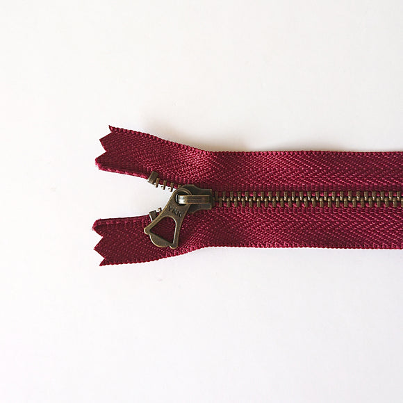 YKK Bronze Zipper with Tulip Pull - Dark Red (15cm/6inches)
