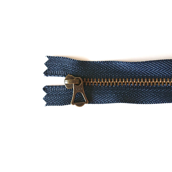 YKK Bronze Zipper with Tulip Pull - Navy (15cm/6inches)