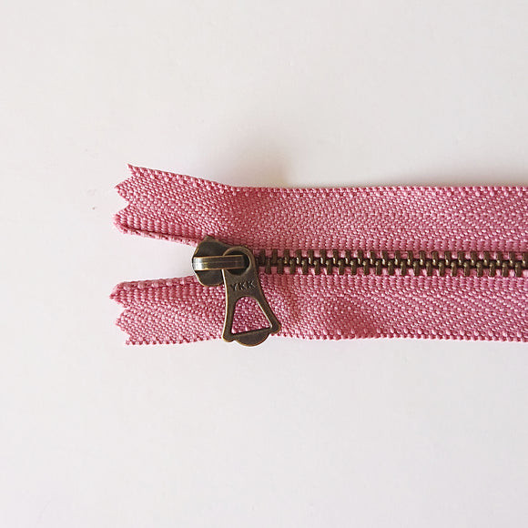 YKK Bronze Zipper with Tulip Pull - Pink (15cm/6inches)