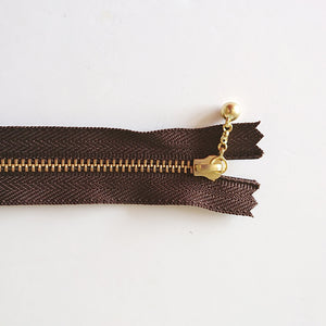 YKK Metalic Zippers with Water-drop Pull - Dark Brown (20CM/8inches)