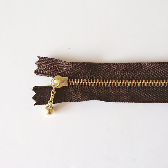 YKK Metalic Zippers with Water-drop Pull - Dark Brown (25CM/10inches)
