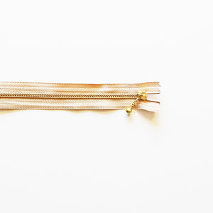 YKK Metalic Zippers with Water-drop Pull - Beige (20CM)