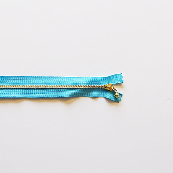 YKK Metalic Zippers with Water-drop Pull - Blue (25CM)