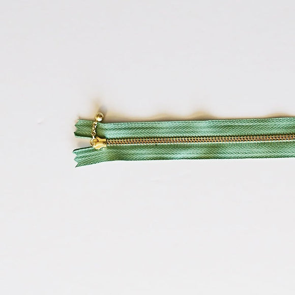 YKK Metalic Zippers with Water-drop Pull - Green (15CM)