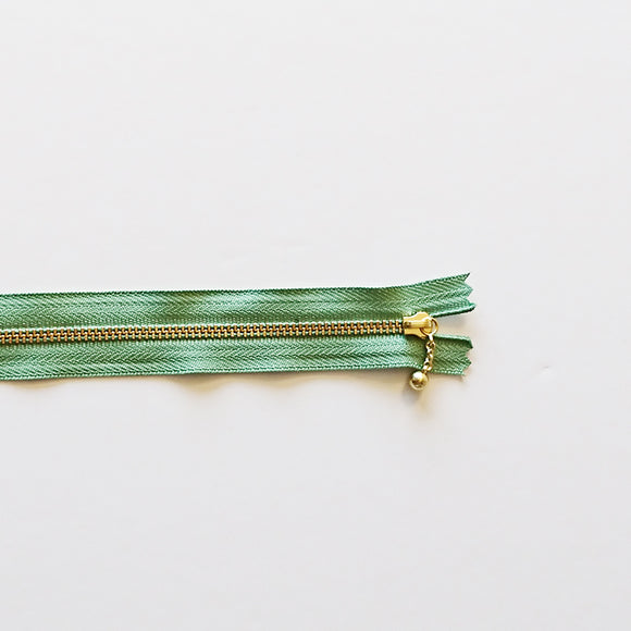 YKK Metalic Zippers with Water-drop Pull - Green (20CM)