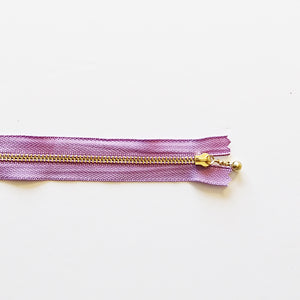 YKK Metalic Zippers with Water-drop Pull - Lilac (30CM)